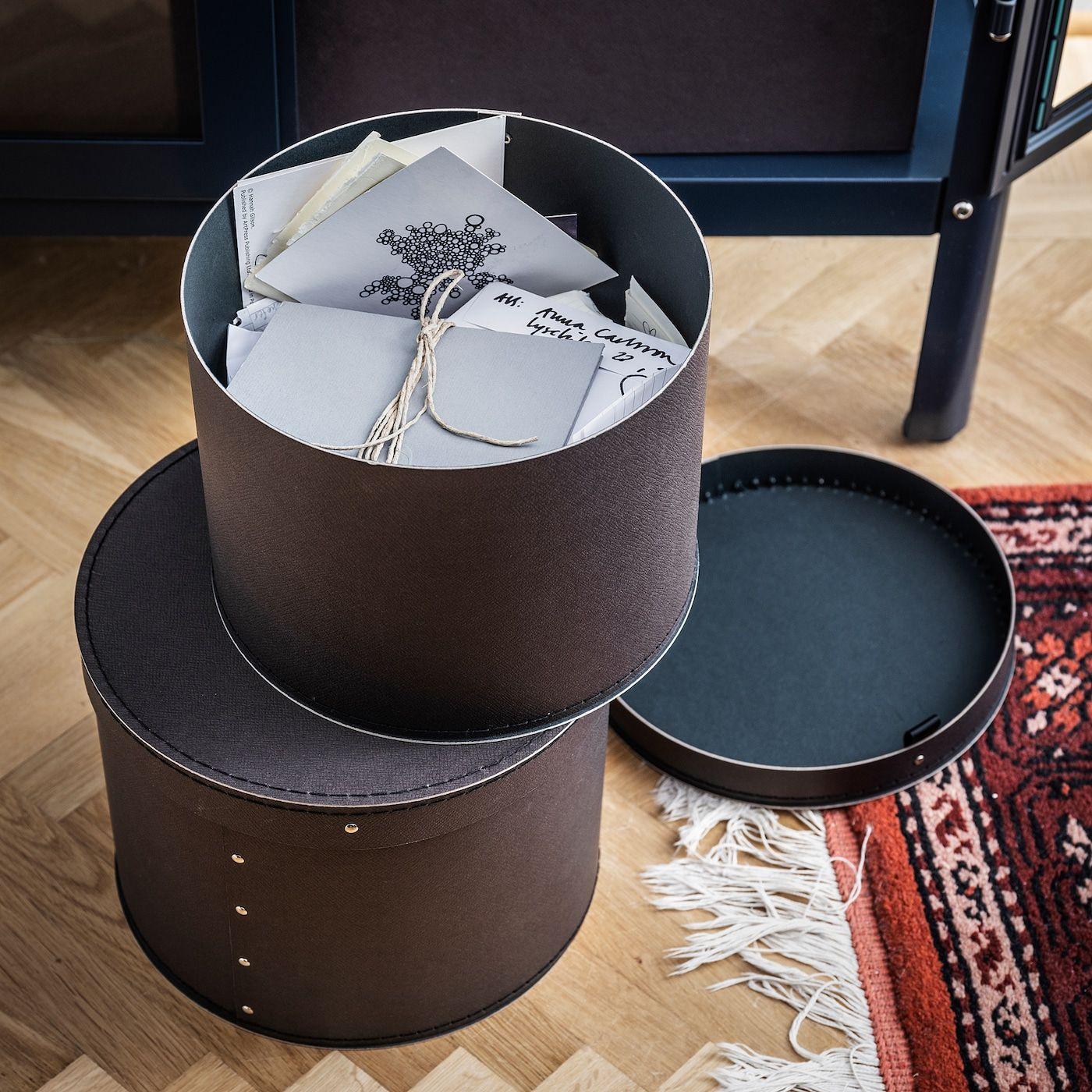 Ikea Anilinare Storage Box With Lid Set Of 2 Dark Brown In 2021 Storage Boxes With Lids Box With Lid Storage Box