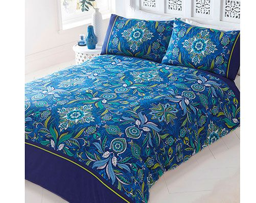 single size navy blue boho bohemian 60s/70s style flowers floral duvet cover set