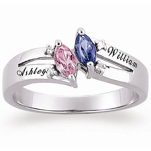 Personalized Sterling Silver Couples Marquise Birthstone