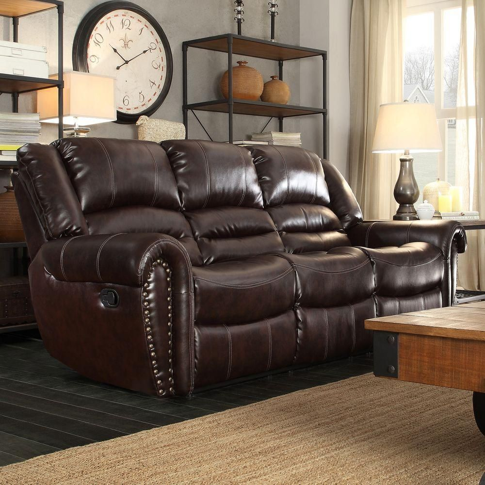 Homesullivan merida chocolate leather sofa 409668brw3