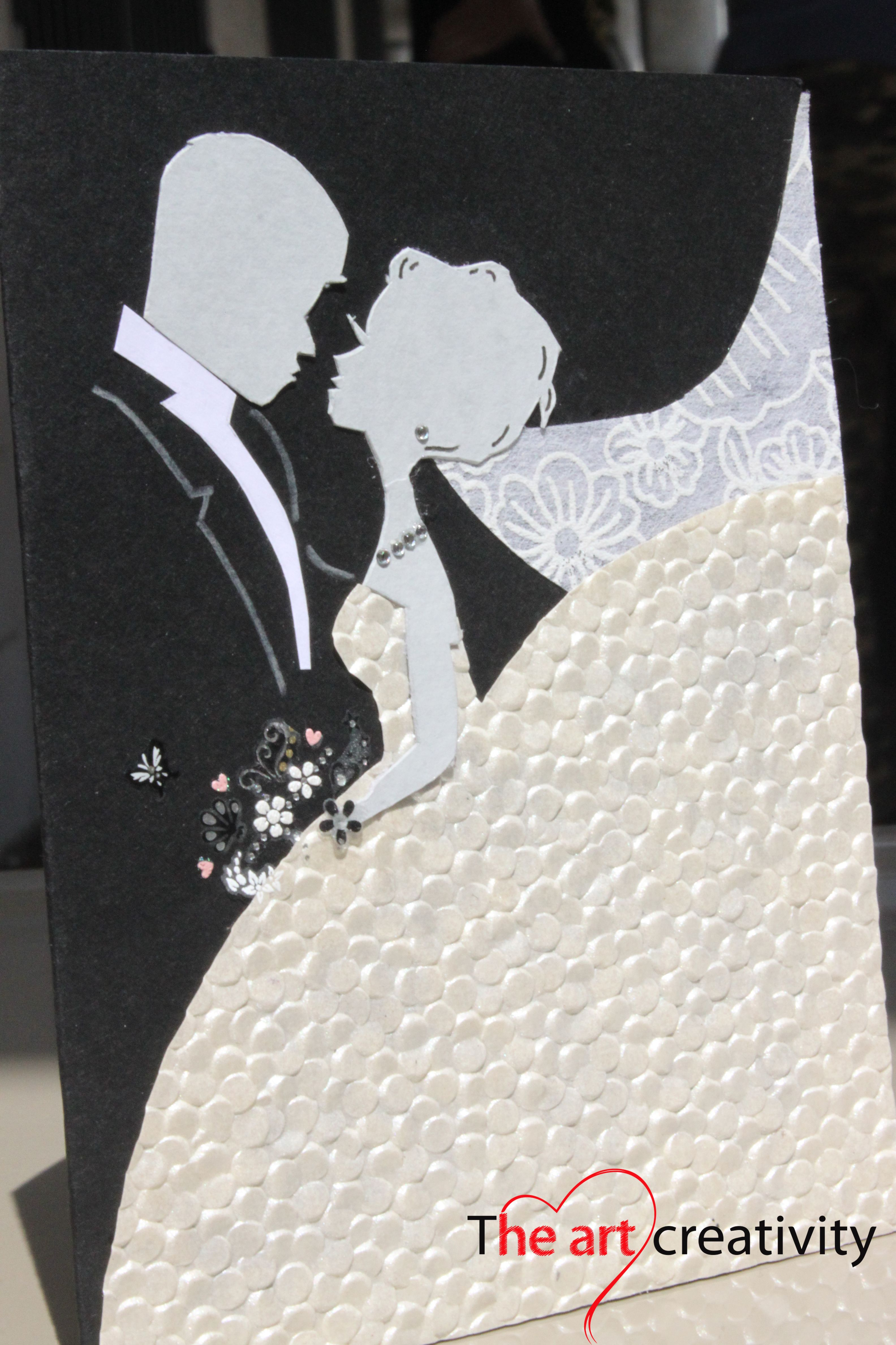 Biglietto Auguri Matrimonio Elegante : Biglietto di auguri per matrimonio con sposi scrap