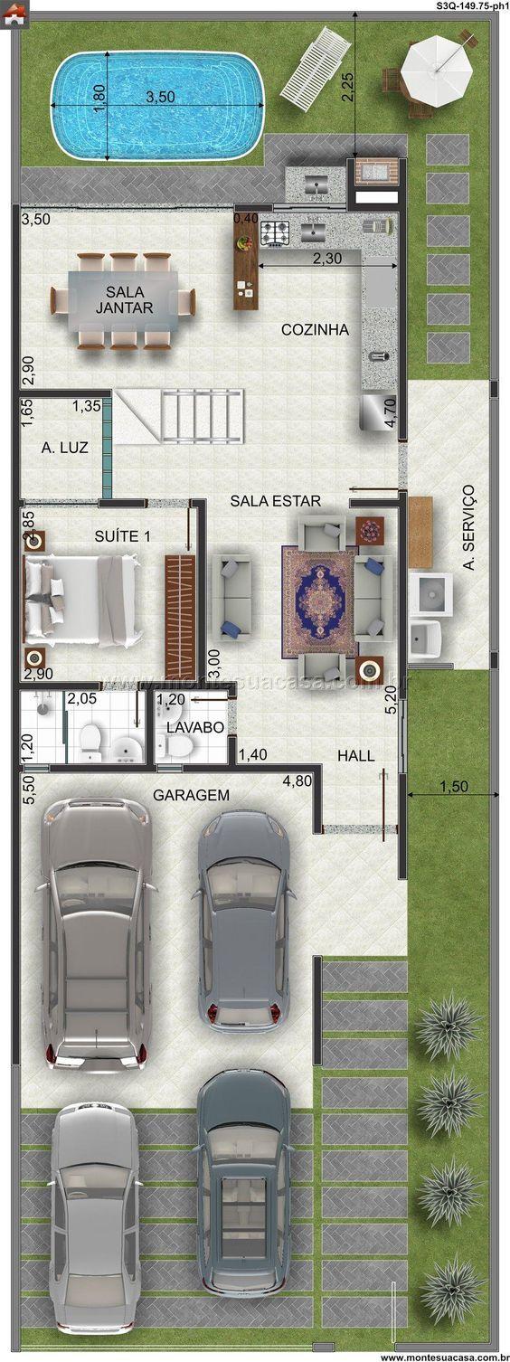 Planta de Sobrado - 3 Quartos - 149.75m² - Monte Sua Casa: