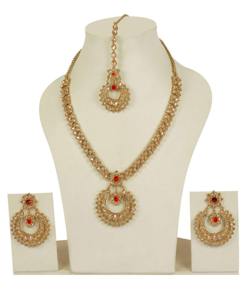 Much more wedding collection gold plated charm look polki necklace