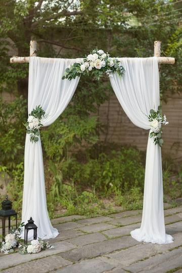 Cotton Eucalyptus Wreath (Set of 3) - White & Green -   18 diy Wedding alter ideas