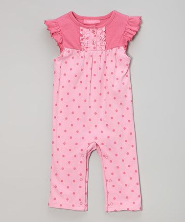 Look what I found on #zulily! Pink & Fuchsia Polka Dot Angel-Sleeve Playsuit #zulilyfinds