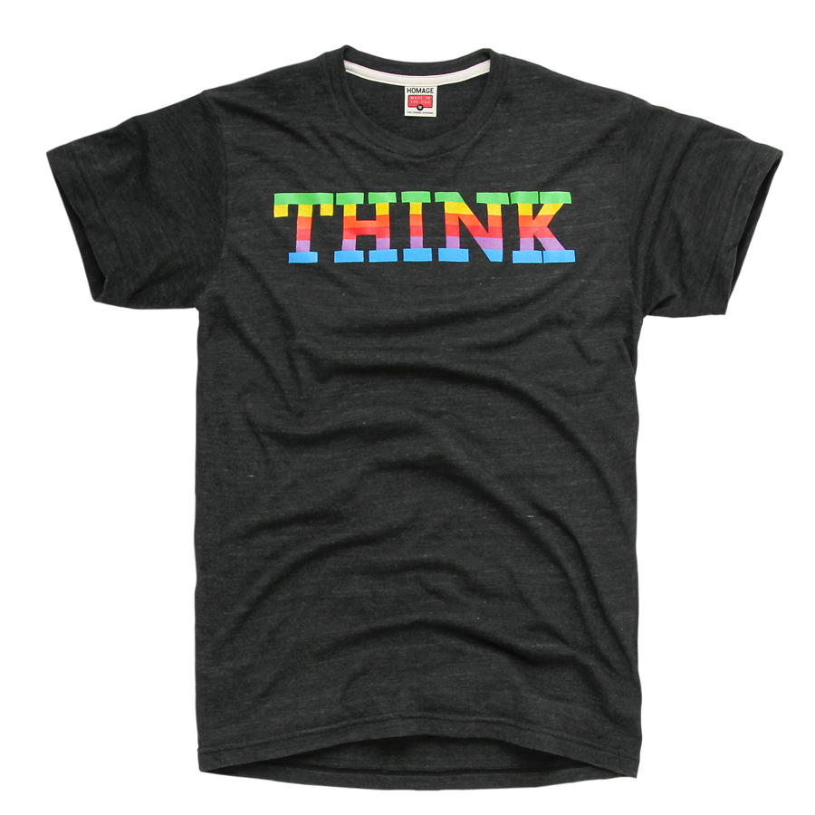HOMAGE THINK Rainbow Gradient Apple Computer T-Shirt - $19.76