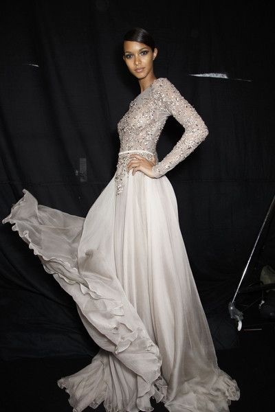 Couture Fall 2013 - Elie Saab (Backstage) Browse all backstage pictures of Elie Saab at Couture Fall 2013. #wedding #dress #sleeves