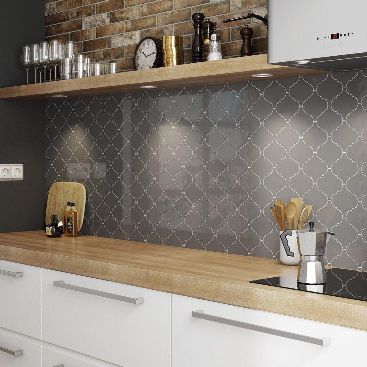 Alhambra Dk Grey Ceramic Wall Tiles Grey Kitchen Designs