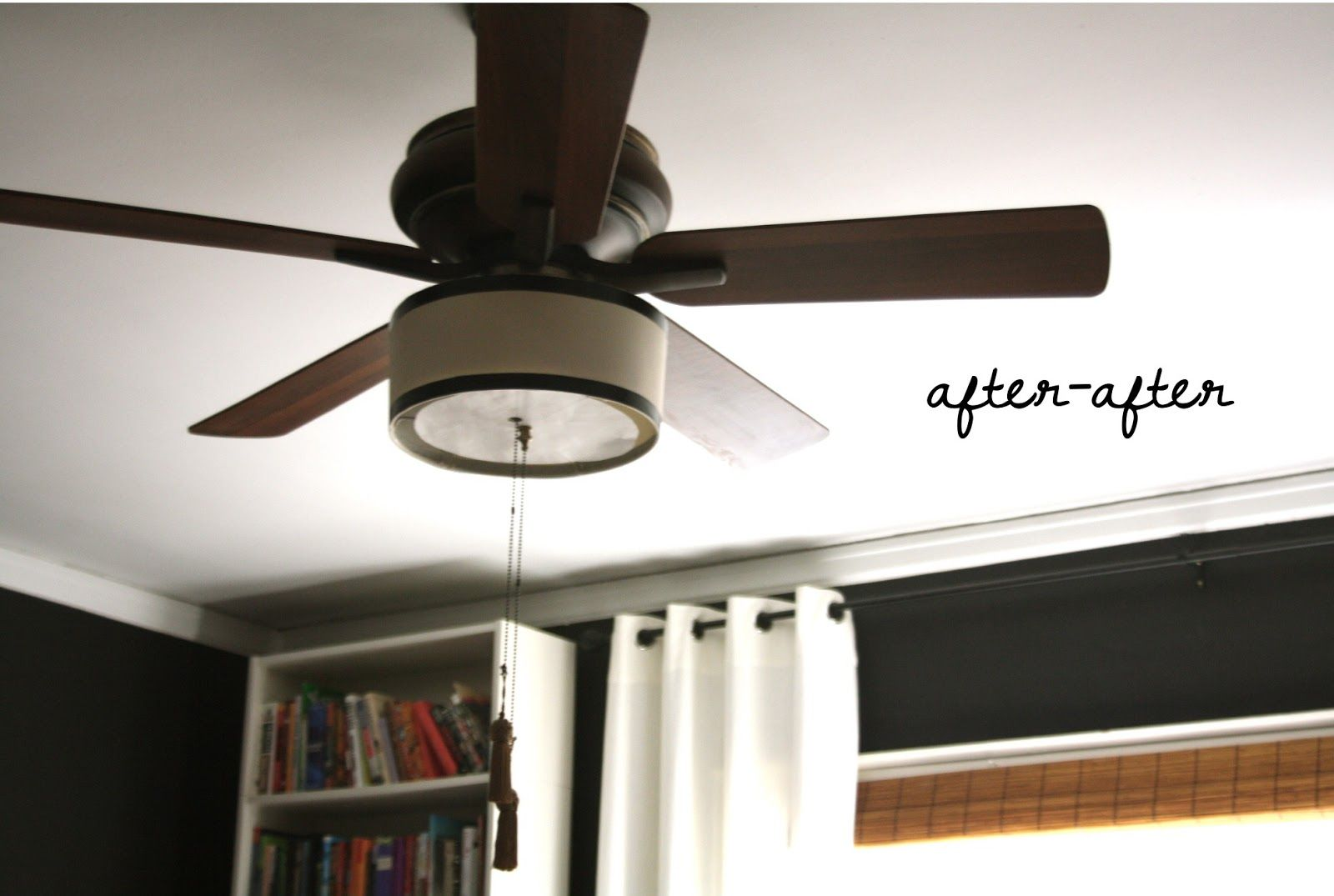 Diy ceiling fan makeover with drum shade diffuser and black trim diy ceiling fan makeover with drum shade diffuser and black trim aloadofball Images