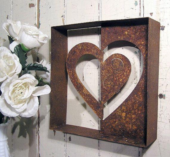 heart metal wall art negative wall decor by elementsbytimbers welding art pinterest. Black Bedroom Furniture Sets. Home Design Ideas