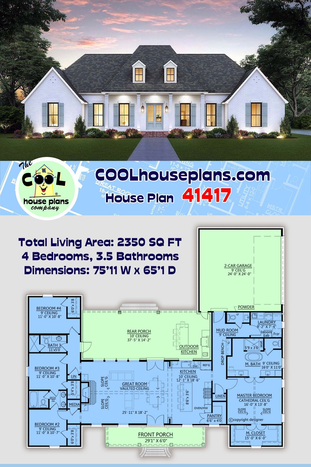 Southern Style House Plan 41417 With 4 Bed 4 Bath 2 Car Garage House Plans House Plans Farmhouse Modern Farmhouse Plans