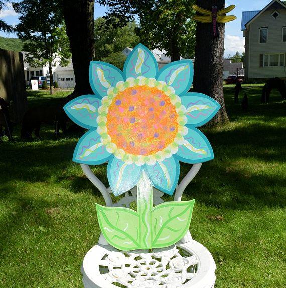 Sunflower Yard Art Stake Wood Painted Flower Garden Stake Spring