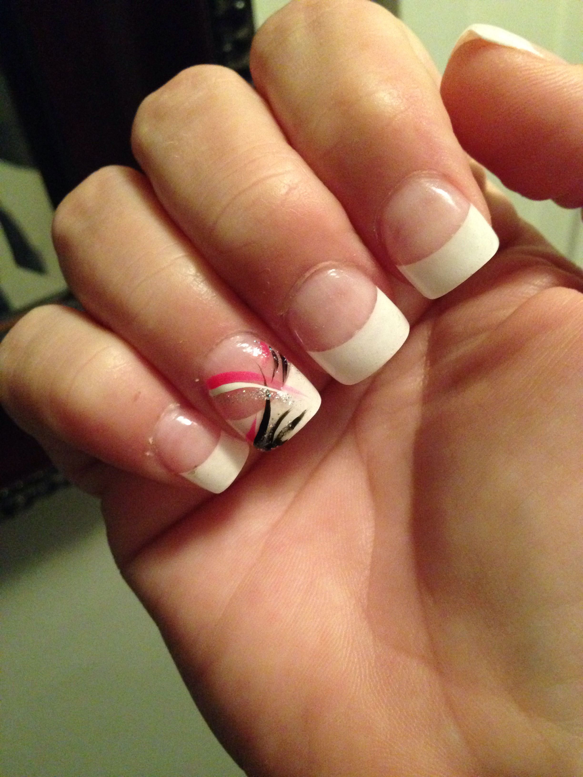 French tip with pink, white black and silver line design | My Nail ...