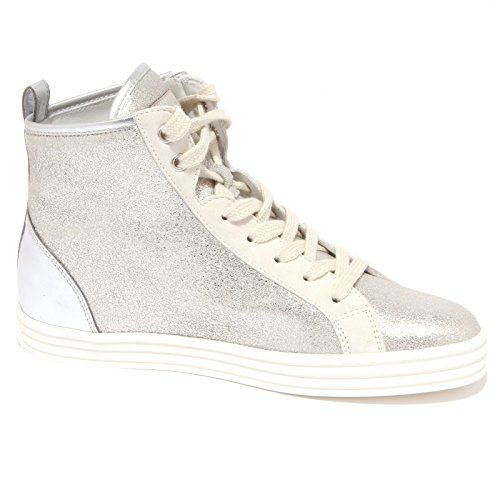 6540Q sneaker donna HOGAN REBEL HI-TOP CON ZIP argento bianco shoe woman   37.5  in OFFERTA su www.kellieshop.com Scarpe fb4973ae87b