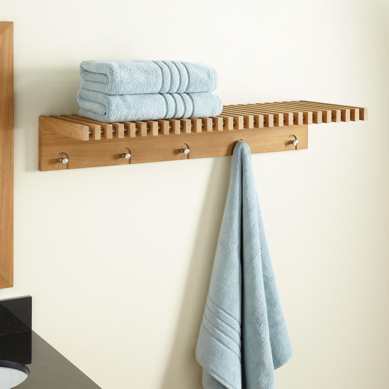 Hauck Teak Towel Shelf With Stainless Steel Hangers Towel Shelf
