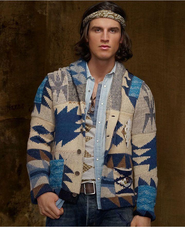 Sweater Patchwork Shawl Collar Cardigan   Man style