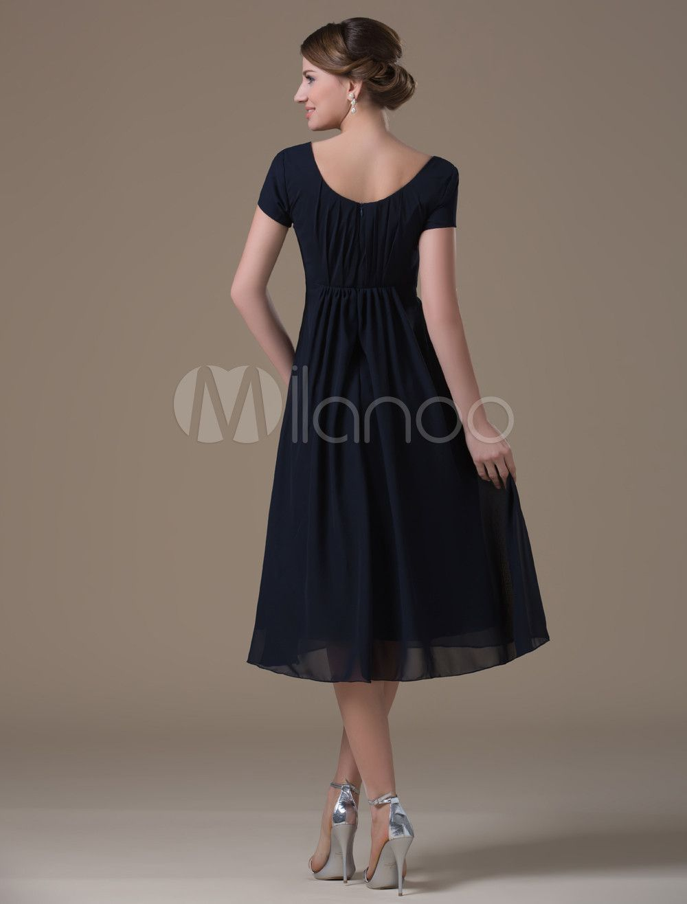 a2ff3a035b A-line Dark Navy Chiffon Maternity Bridesmaid Dress with Jewel Neck High  Rise Waist  Chiffon