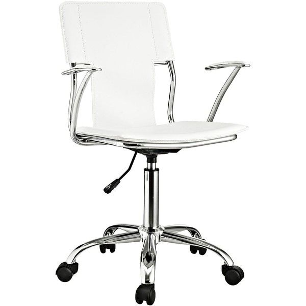 Universal Lighting and Decor Studio Chrome White Swivel Office Chair ($100) ❤ liked on Polyvore featuring home, furniture, chairs, office chairs, chair, seating, white, spinning chair, white desk chair and adjustable office chair