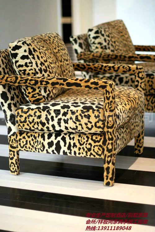 Jin Shang Custom Furniture Minimalist Modern Leisure Sofa Postmodern  Bedroom Leopard Sofa Sofa Chair Reception