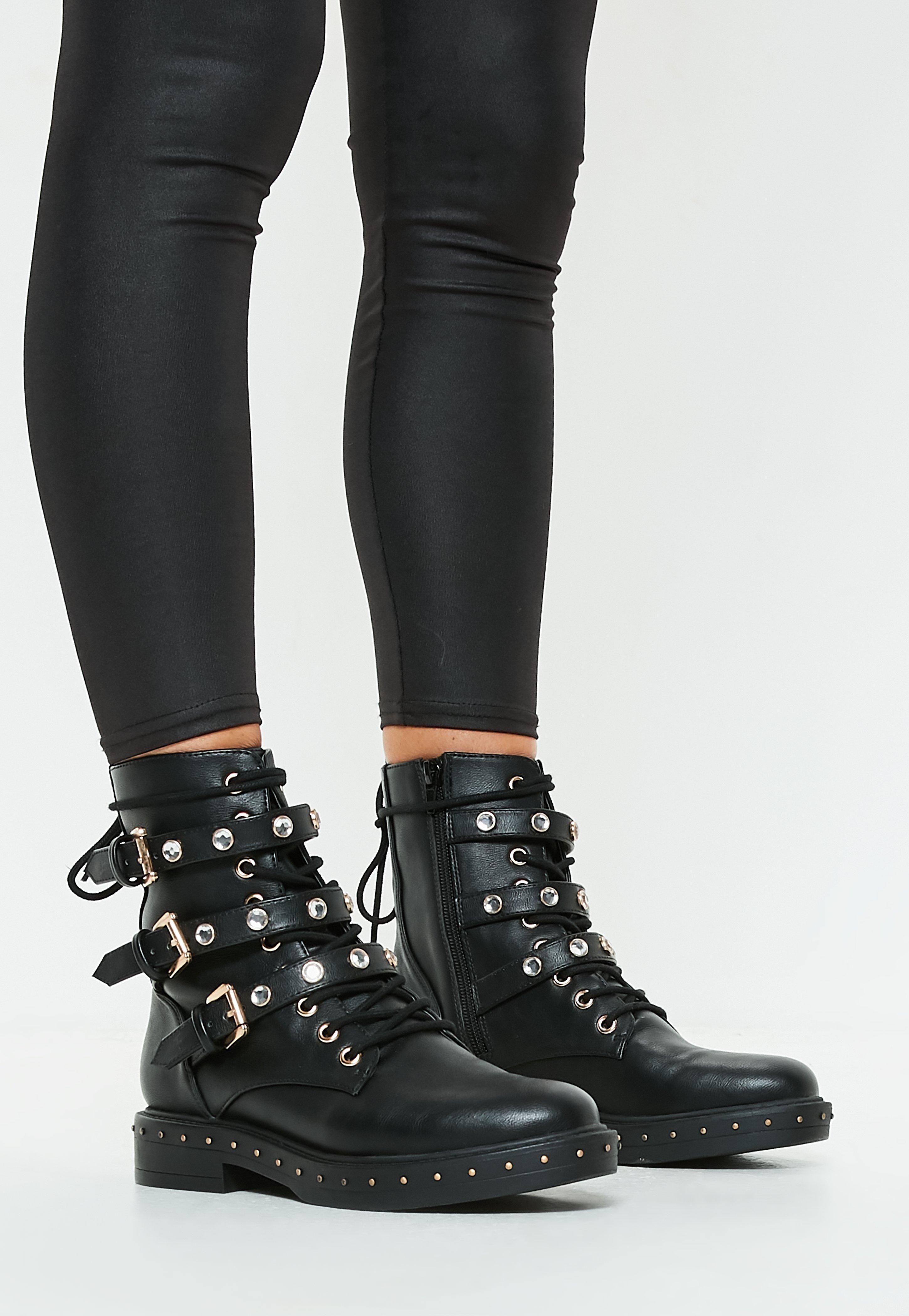 black triple strap mid embellish hiker boots | Women's Boots