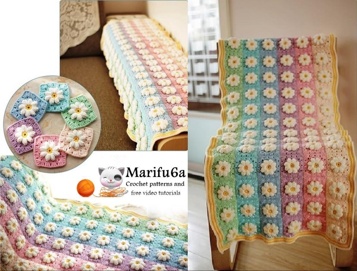 Easy crochet rainbow blanket | Manta