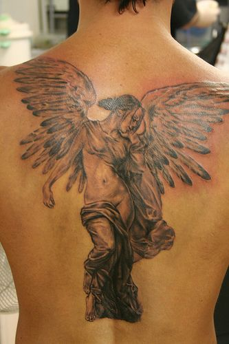 angel tattoo | Beautiful angel tattoos, Angel tattoo designs