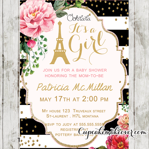 Black White Stripes Pink Floral Paris Baby Shower Invitation, Personalized
