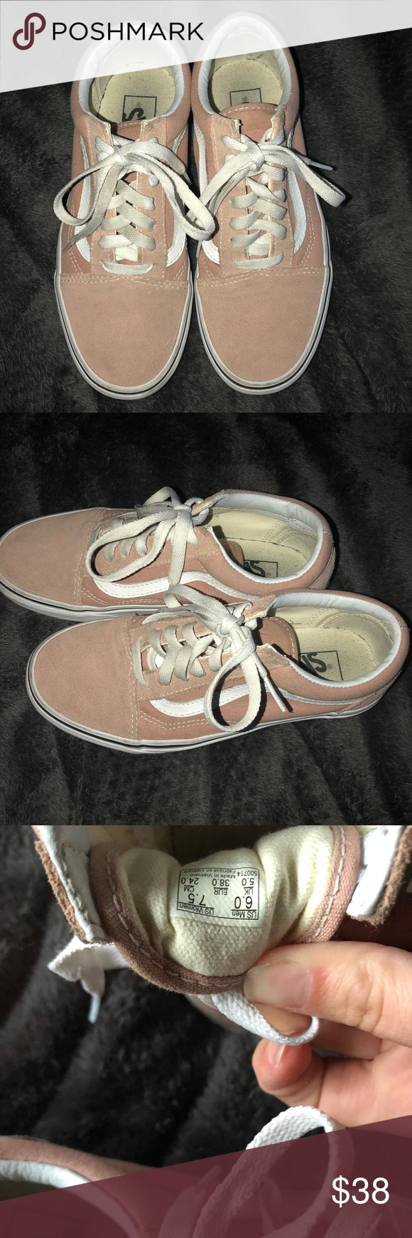 0877233a0650ef Vans light pink old skools 7.5 Only worn once or twice... perfect  condition! Vans old skool womens size 7.5 Vans Shoes Sneakers