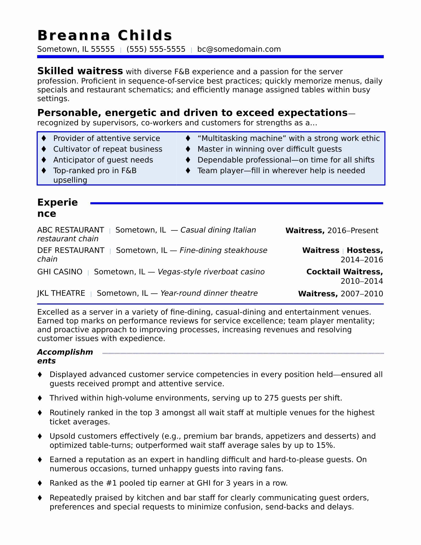 Waitress Skills For Resume Best Of Waitress Resume Sample Resume Writing Services Resume Examples Resume Tips
