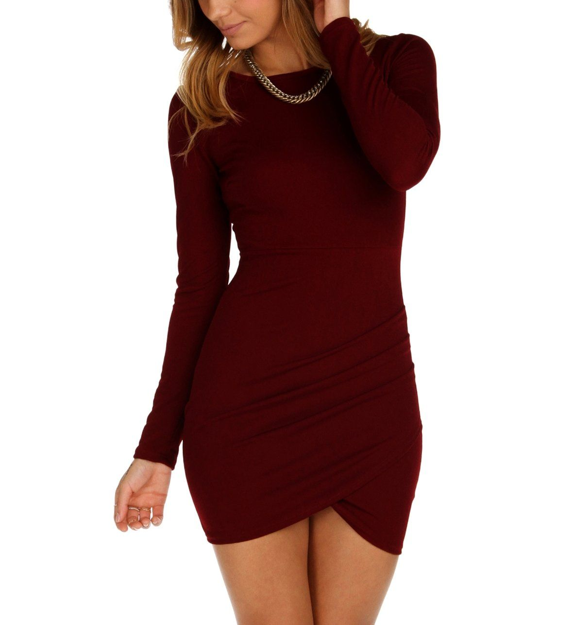 Burgundy Chic Deep Back Dress From Windsor Red Long Sleeve Dress Burgundy Long Sleeve Dress Red Fitted Dress [ 1286 x 1180 Pixel ]