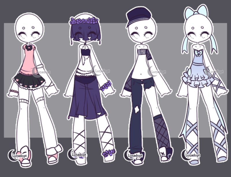 Anime Character Design Base : Set gacha outfits by lunadopt on deviantart cute