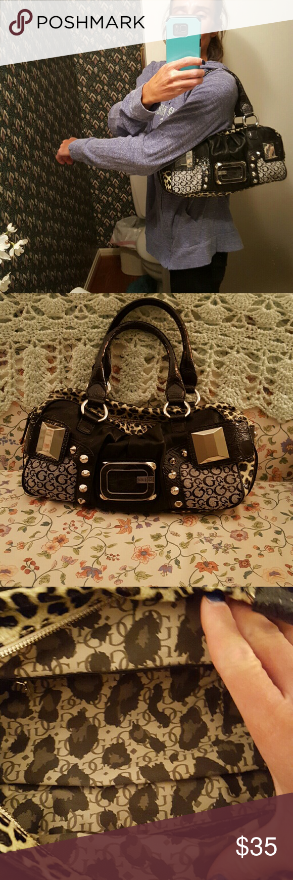 Authentic Guess purse BNWOT Authentic Guess purse. Inside is incredibly spacious with 2 open pockets and 1 zip pocket. Zip closure. Guess Bags Shoulder Bags