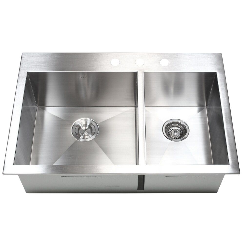 33 Inch 16 Gauge Stainless Steel 60 40 Double Bowl Topmount Drop In Zero Radius Kitchen Sink Silver In 2020 Top Mount Kitchen Sink Drop In Kitchen Sink Double Bowl Kitchen Sink