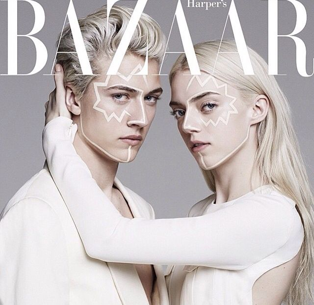 Twin power, Lucky Blue Smith and Pyper America for Harper's Bazaar