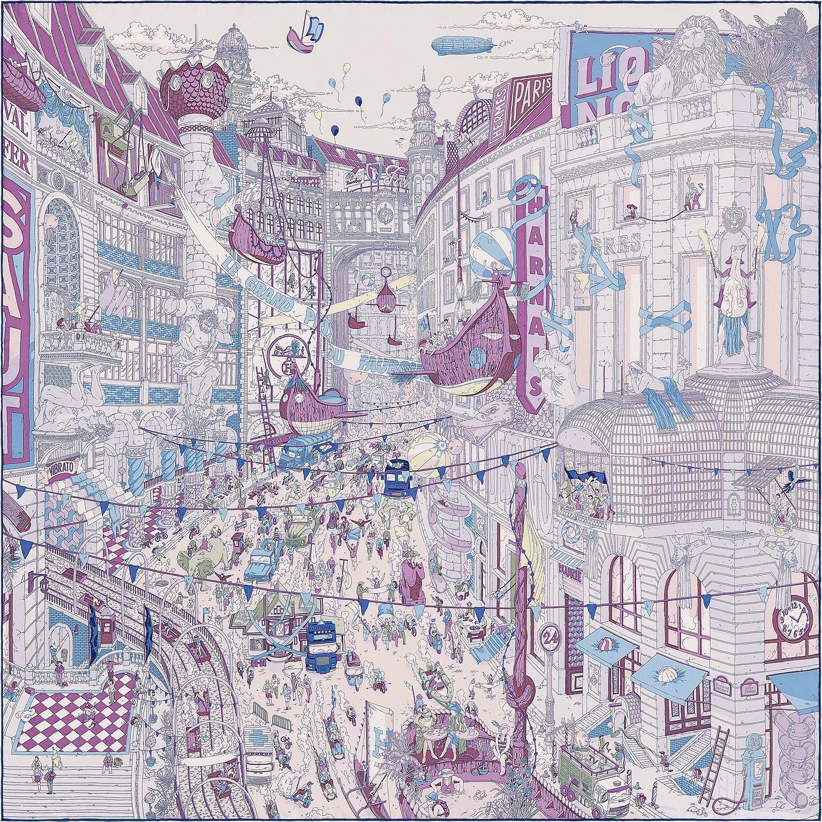 Hermès - Le Grand Prix du Faubourg, signé Ugo Gattoni   Carrés ... a1b94ac26de