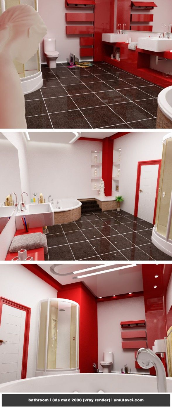 color combination of red and white are attractive, Modern Bathroom Decorating Ideas
