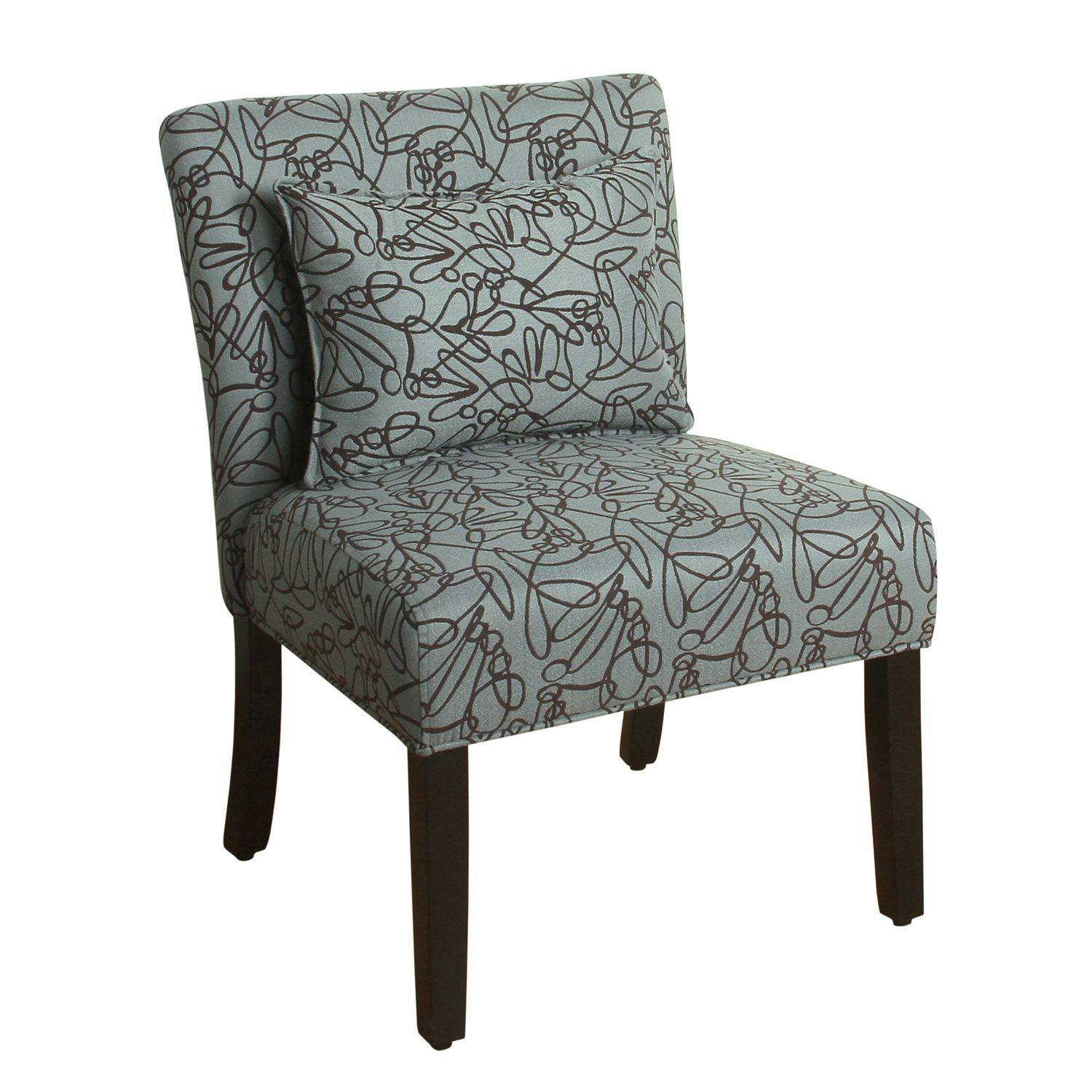 Best Homepop Parker Teal Brown Accent Chair With Pillow 640 x 480