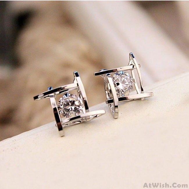 Fresh Unique Tic Tac Toe Triangle Zircon Women Earrings Studs Only 9 99