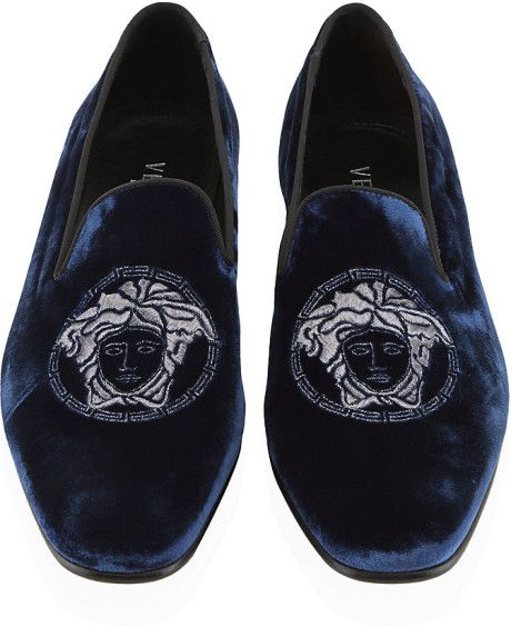 7ef8aff314 Blue Versace Slippers | Versace Medusa Velvet Slipper in Blue for Men
