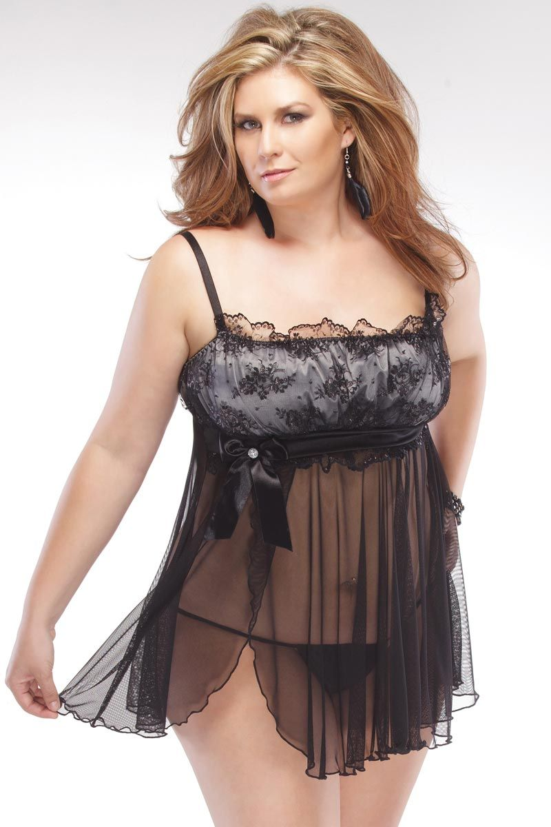 437f5ba8f5b Coquette Plus Size Mesh and Lace Babydoll