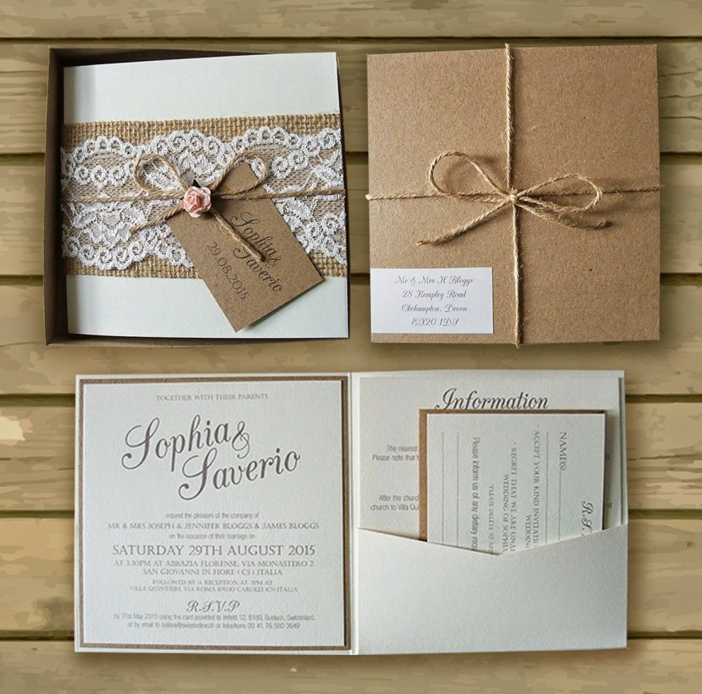 Bespoke Boxed Kraft Wedding Invitations Lace Hessian