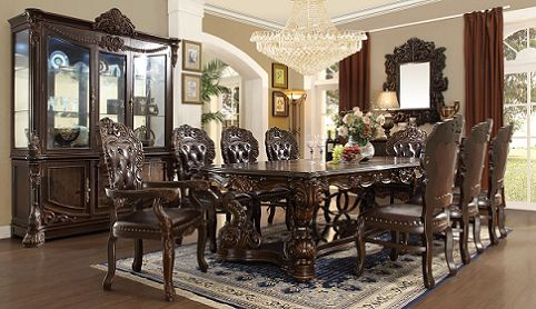 7 Pc Queen Victoria II Collection Old World Style Dining Table Set With Carved Accents And