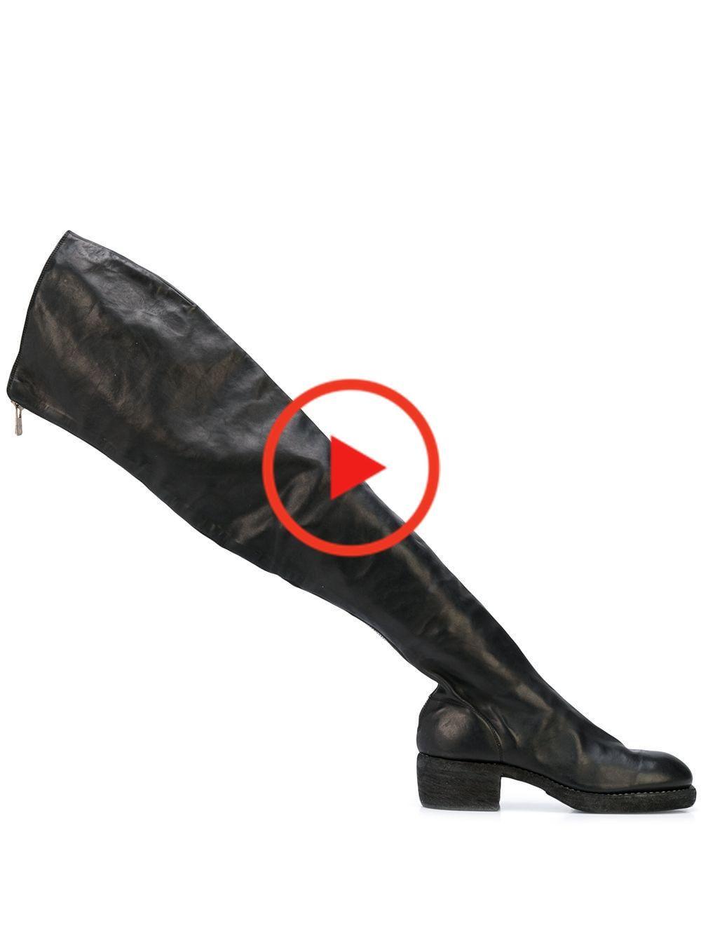 Guidi geritst dij hoge laarzen zwart cuissardes