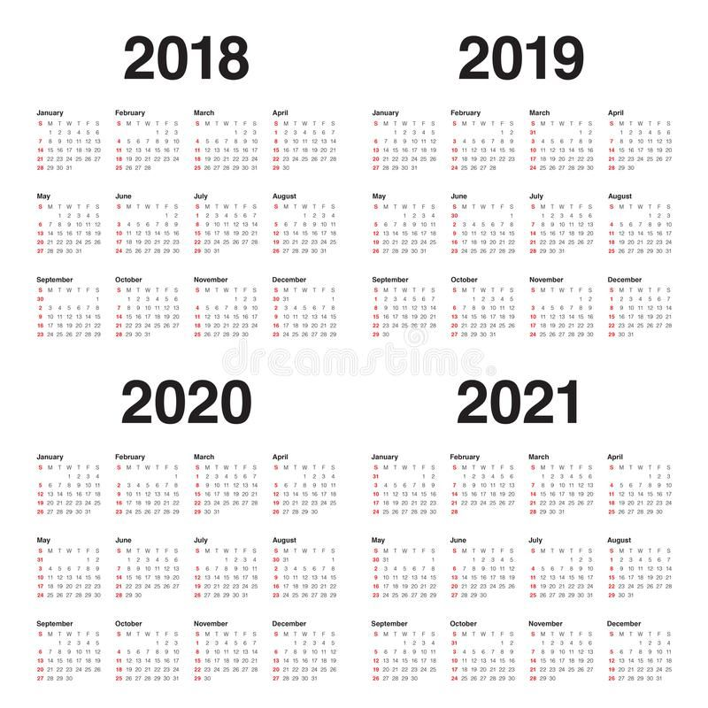 Year 2018 2019 2020 2021 Calendar Vector Design Template Simple And Clean Desi Affiliate Calendar Calendar Vector Logo Design Typography Design Template