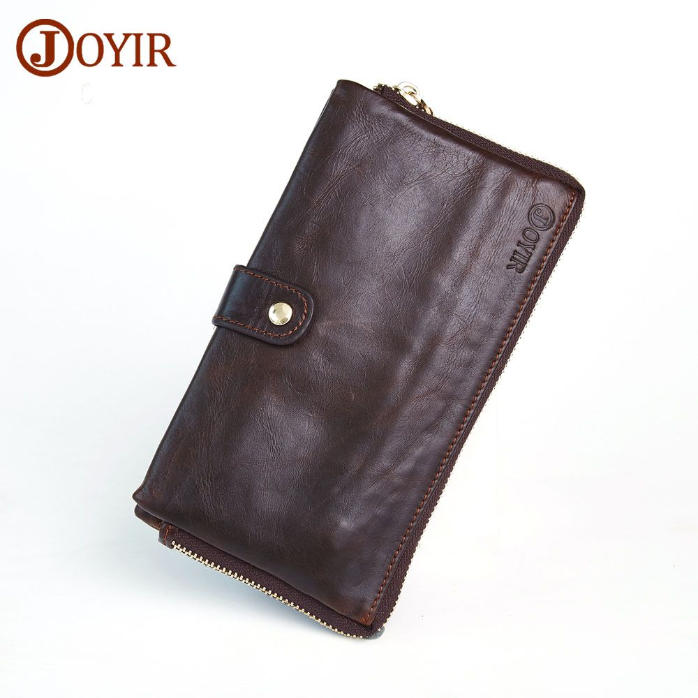 Joyir Cow Leather Men Clutch Bags With Phone Pocket Long Wallet