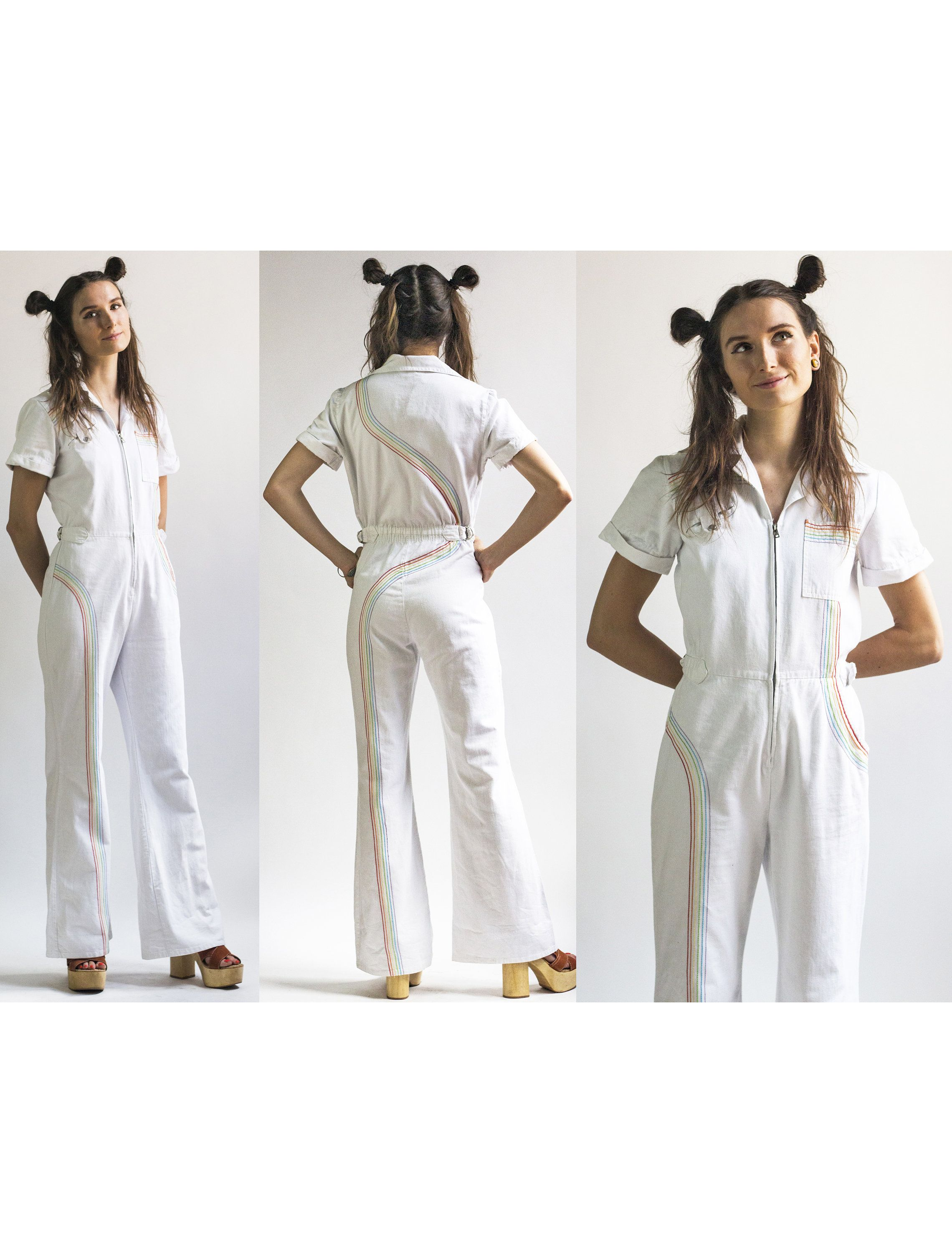1087d9671037 1970s White Denim Rainbow Stitched Wide Leg Faded Glory Jumpsuit    Vintage  70s Denim Front Zip Short Sleeve Jumpsuit    Size S Small by AveryVintageShop  on ...