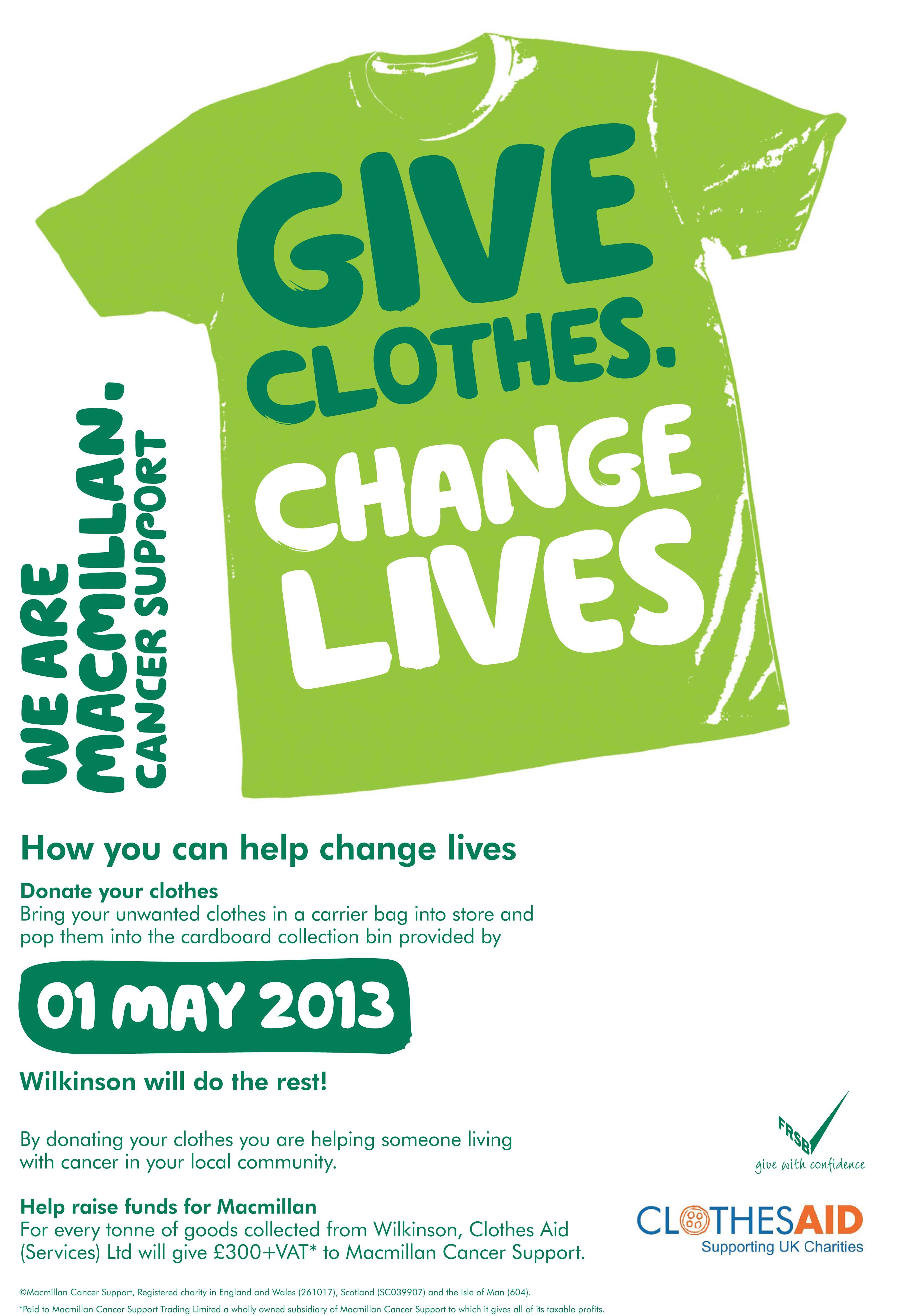 Wilkinson stores offers bags of support to charity for Shirts that donate to charity