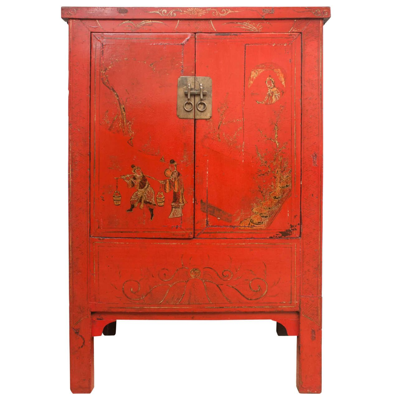 Wonderful Chinese Red Lacquer Cabinet With Gilt Painting, 19th Century