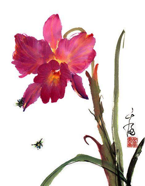 Grace Lin Chinese Painting Floras Bees Around Orchid 101art Chinese Paintings Oil Paintings Art To Wear Scarves Chinese Painting Flowers Flower Painting Orchids Painting
