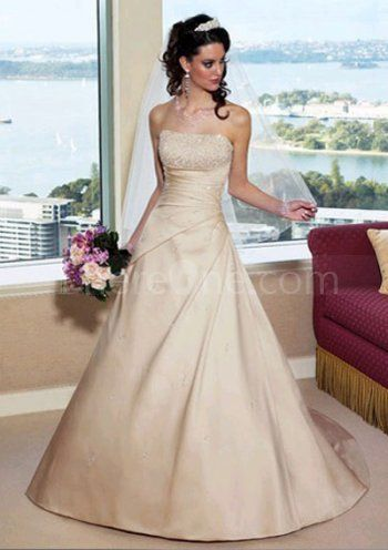Gorgeous A-Line/Princess Strapless Chapel Train Satin Wedding Dresses http://www.thereone.com/gorgeous-alineprincess-strapless-chapel-train-satin-wedding-dresses-p1154.html
